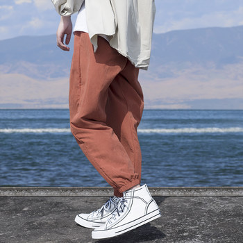 Ruzhuo's original loose casual Leggings hip hop style simple and versatile men's thin cropped pants new trend in spring and summer
