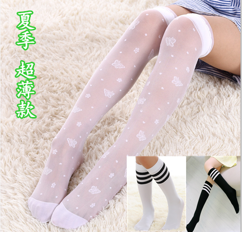 d222d04d68b Girls long tube socks summer thin children white knee stockings little girl  princess stockings baby socks