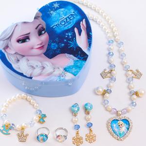 冰雪奇缘艾莎项链小女孩手链耳环戒指套装公主首饰盒生日礼物饰品