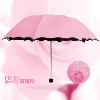 Creative sunny and rainy dual-use flowering discoloration umbrella black plastic sunscreen umbrella UV protection three folding umbrella F1