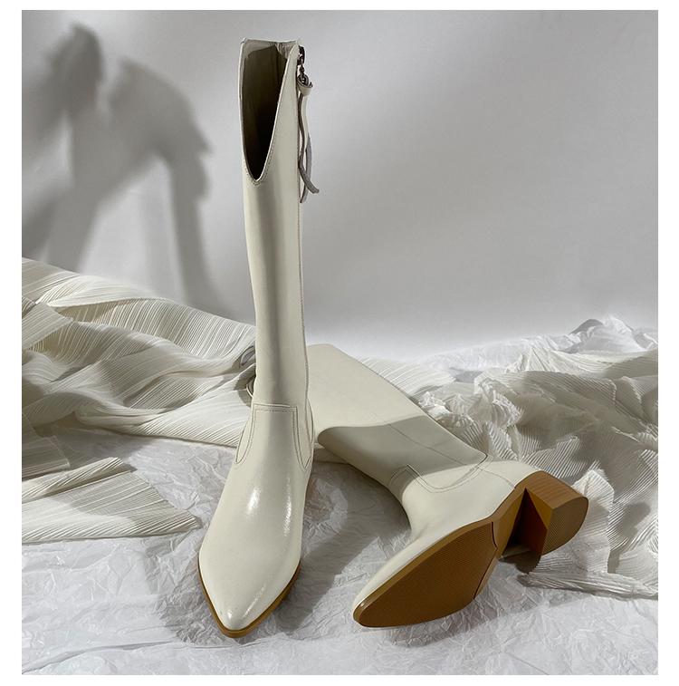 墨染·蓮花府邸冬季新款長筒西部騎士靴女高筒尖頭粗跟不過膝女靴瘦瘦靴