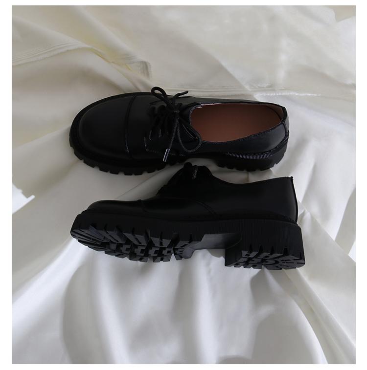 墨染·蓮花府邸2121春季新款深口小皮鞋圓頭松糕鞋英倫風時尚休閒單鞋女
