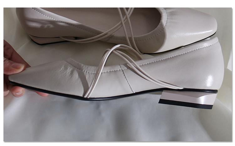 墨染·蓮花府邸淺口單鞋真皮低跟鞋簡約時尚百搭復古女鞋舒適奶奶鞋休閒