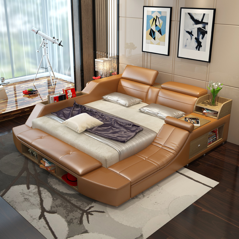 Usd Simple Modern Leather Bed Tatami Leather Bed 1 8m Double Bed Master Bedroom