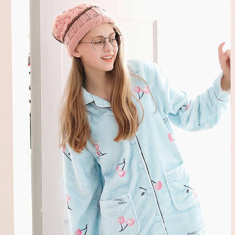 Fengteng pajamas autumn and winter coral velvet cardigan cute sweet warm  flannel Ladies Home service suits 01e74c56f