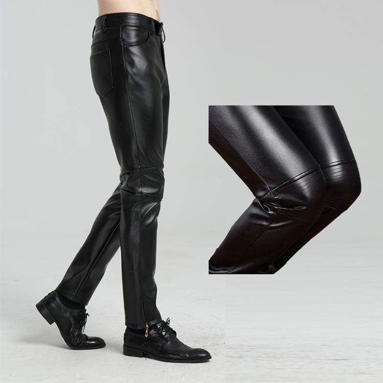Маленькие кожаные штаны мужской Мотоцикл локомотив мужской Кожаные штаны корейская  версия приталенный стиль волна черный Красивый DqJpm7tLIX