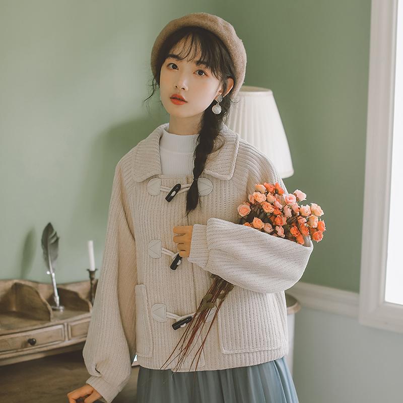 Áo khoác Nizi Nhật Bản 2019 mới nữ sen sinh viên đại học phong cách áo khoác len ngắn nhỏ - Áo khoác ngắn