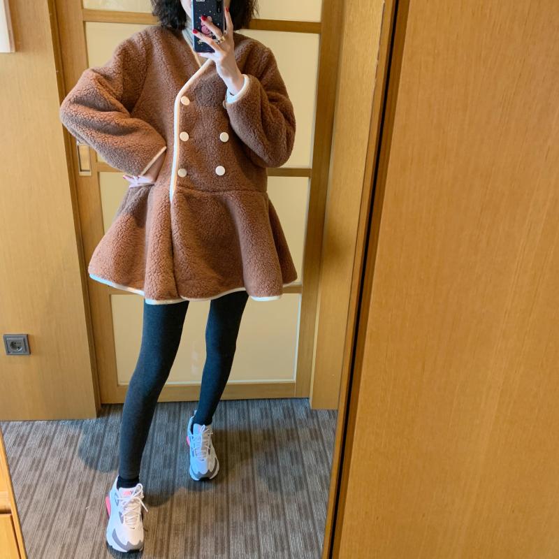 ◆张静芝韩国东棉服冬复古韩范厚实大门毛裙摆式双排扣羊羔外套