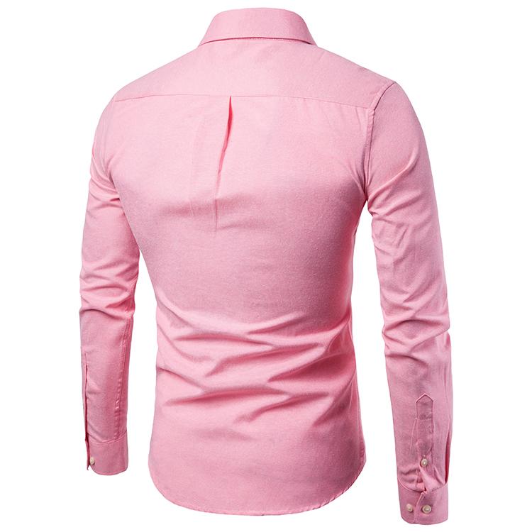 新款速卖通跨境爆款牛津纺衬衣大码休闲男士口袋装饰长袖衬衫男
