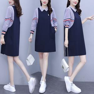 YF29777# 春季新款韩版大码女装宽松条纹拼接假两件口袋连衣裙 服装批发女装直播货源