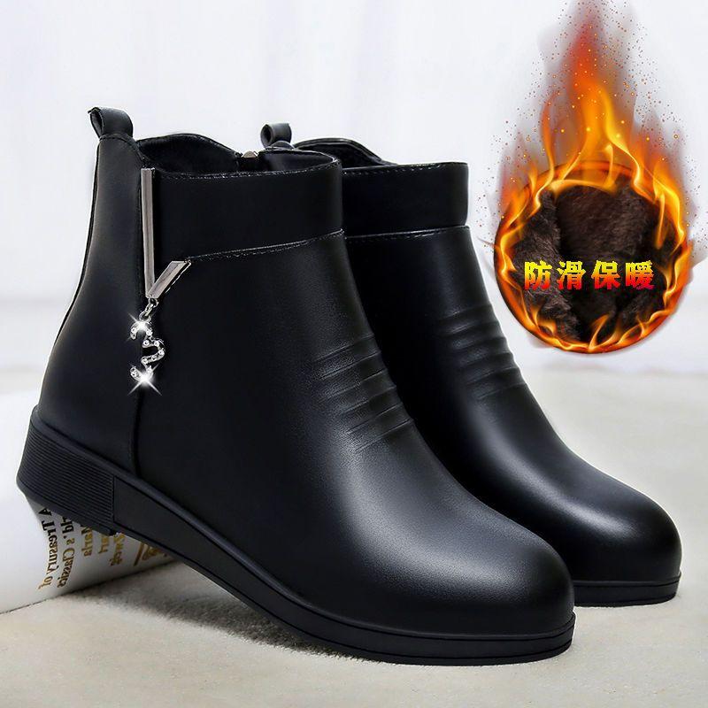 妈妈鞋棉鞋女秋冬季中年软皮软底短靴平底皮鞋加绒靴子中老年女鞋