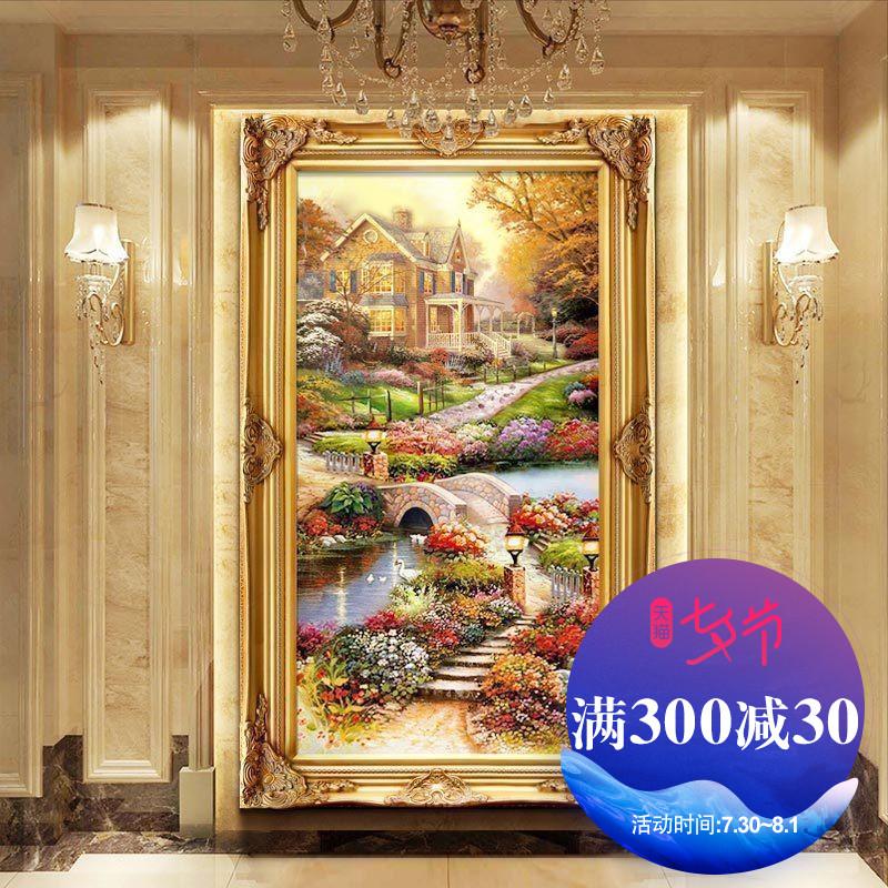 欧式风景玄关过道油画托马斯装饰画走廊竖版手绘挂画定制别墅壁画