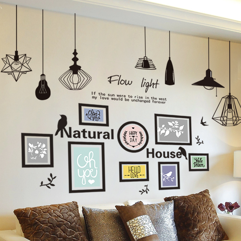 Creative European Self Adhesive Wallpaper Bedroom Wall Sticker Collage  Living Room Background Wall Decorations Chandelier