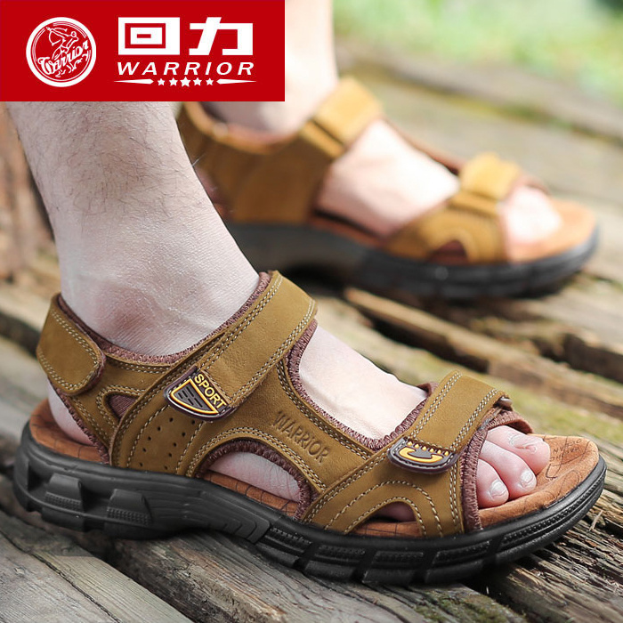 ad379a7de07d1 Pull back 2018 summer new men s leather sandals outdoor business casual beach  shoes scrub leather non