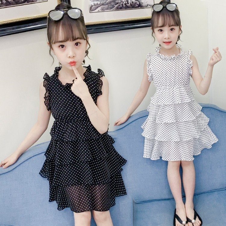 Girls dress summer 2019 New children's Super-Western net Red children's princess dress little girl chiffon skirt