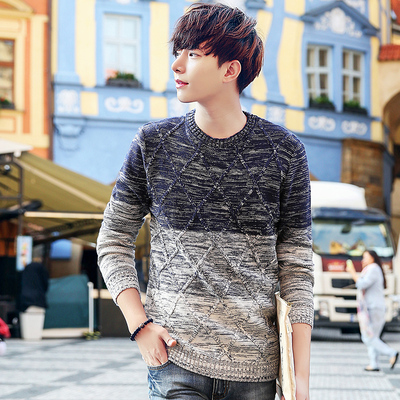 2017 autumn and winter men's sweater cover round neck trend sweater men's Korean version of the Slim shirt men's clothes