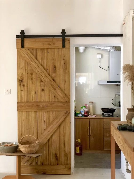 Nordic Barn Door Hanging Sliding Solid Wood Toilet Bathroom Bedroom Kitchen Parion Custom