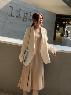 mimius2019春夏新款时尚气质西装套装女韩版宽松网红小西装外套女