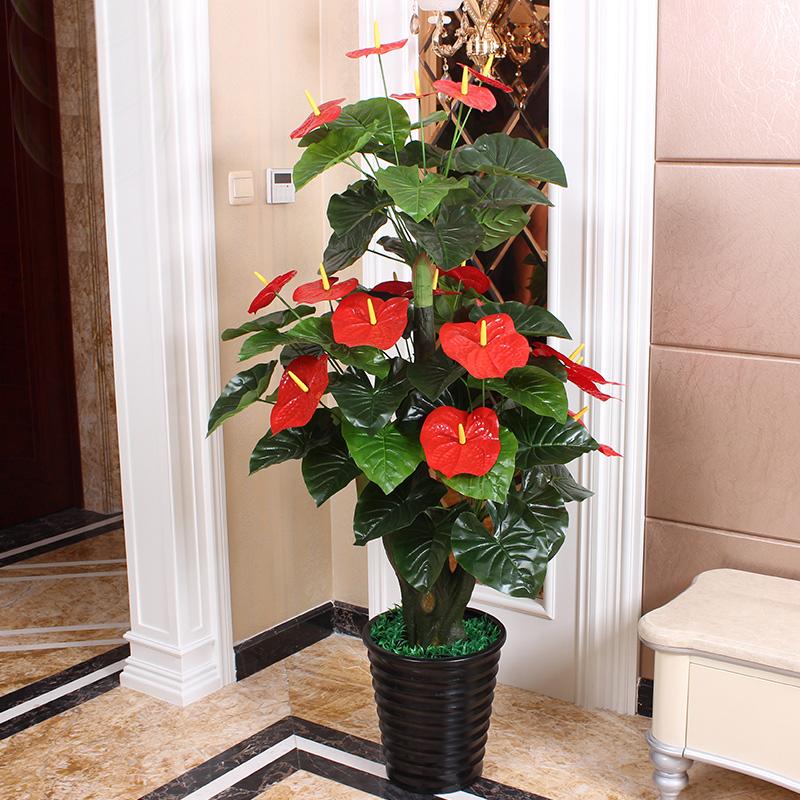 Anthurium giả cây mô phỏng chậu cây cảnh sàn lớn hoa nhựa giả hoa trong phòng khách mô phỏng hoa trang trí - Hoa nhân tạo / Cây / Trái cây