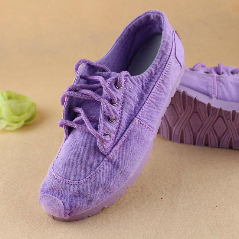老北京系带布鞋潮低帮时尚紫色鞋小白鞋单鞋平跟女帆布软底学生鞋