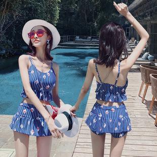 韩国ins风小清新日系分体遮肚显瘦泳衣