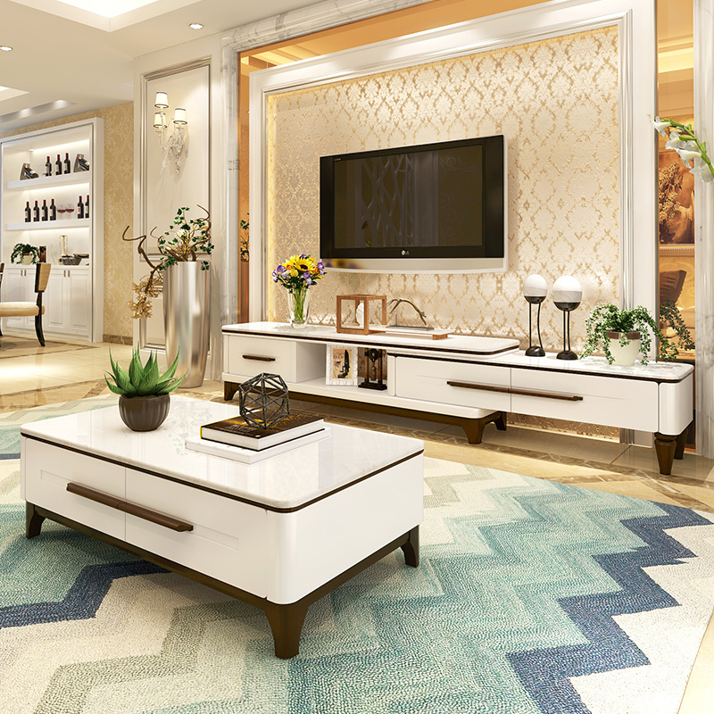 Marble Coffee Table Retractable TV Cabinet Combination Set Modern Simple Small  Apartment Living Room TV Cabinet