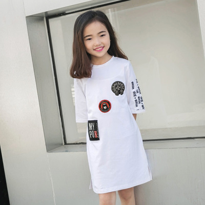 Korean version of the girls in the long section of the dress 2017 summer new children's clothing round neck short sleeve casual T-shirt dress