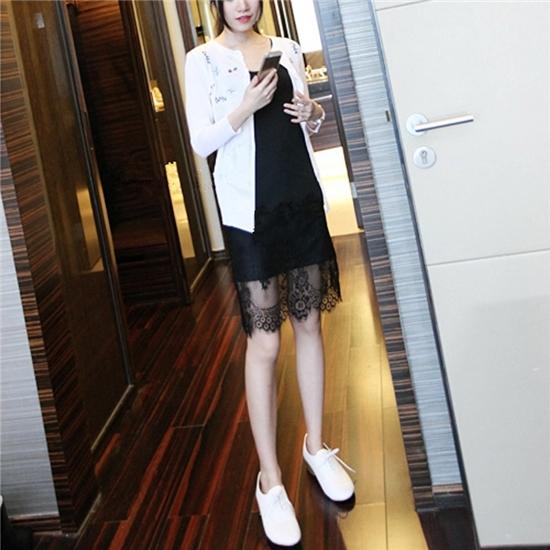 韩版新款纯棉背心中长款大码内搭吊带蕾丝刺绣花边拼接打底连衣裙