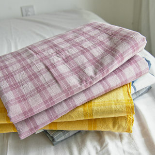 Washed cotton sheets, single-piece pure cotton, student dormitory single bed, solid-color plaid, three-piece cotton quilt, quilt cover