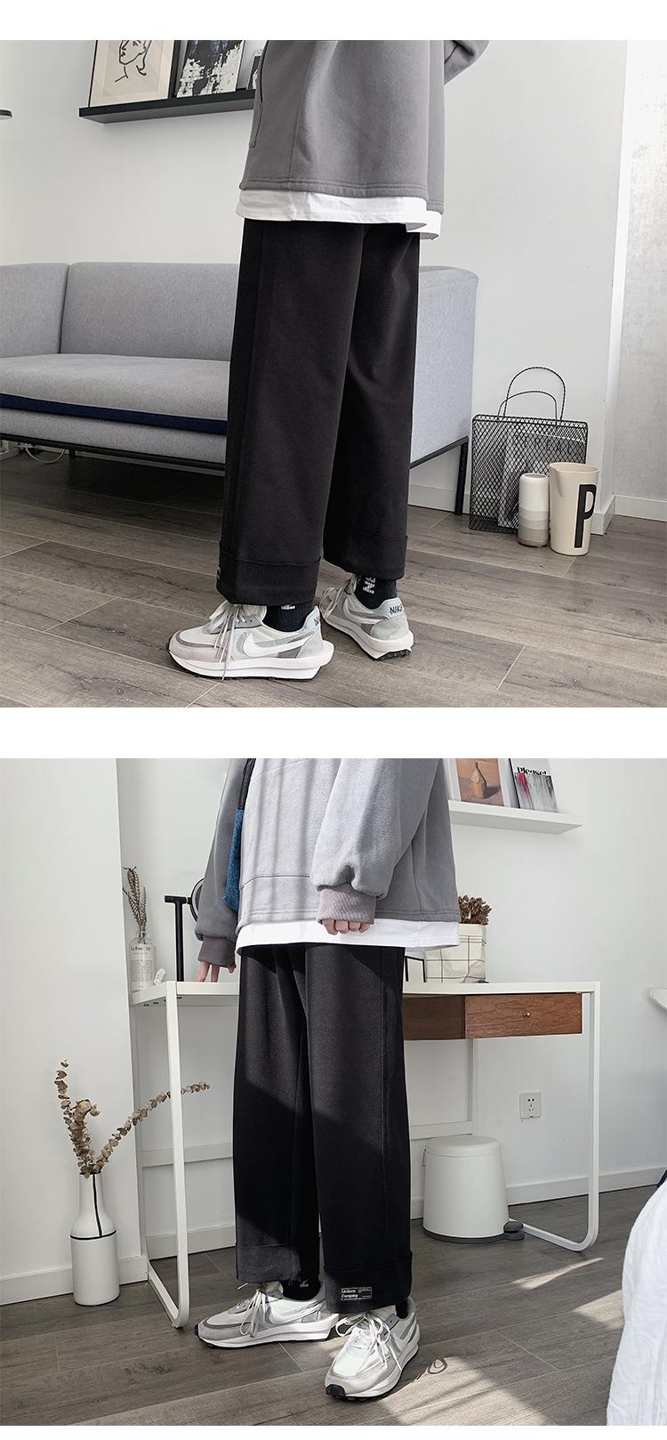 ROCKY nhà Nhật Bản thương hiệu thủy triều mùa xuân Harajuku bf quần chân rộng lỏng lẻo văn chương thẳng quần giản dị nam - Quần mỏng