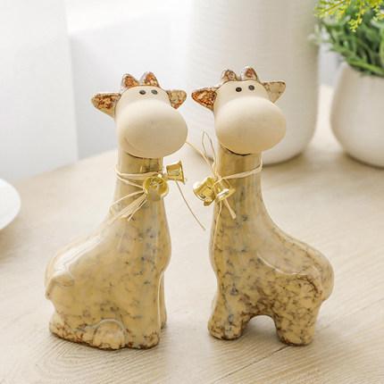 小鹿陶瓷摆件兔子动物家居饰品情侣生日新婚礼