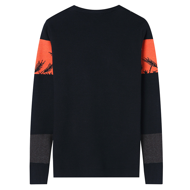 2017 autumn and winter men's new sweaters Korean casual color hit round neck pullover sweater men's youth sweater