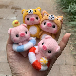 Wool felt poke Le diy material package New Year gift couple models rabbit Shiba Inu piglet handmade