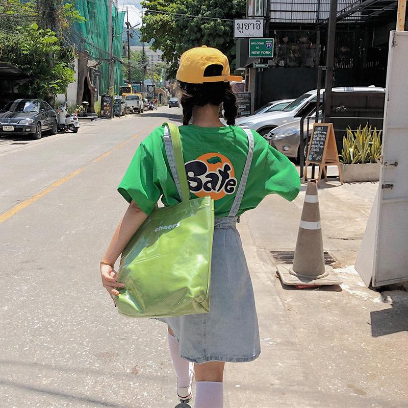 林诗琦 2019夏季新款韩版趣味印花短袖t恤女宽松显瘦百搭上衣女