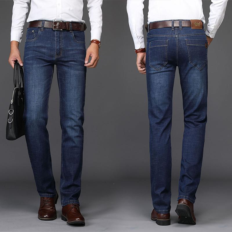 春夏新款牛仔裤男弹力蓝色直筒宽松中青年修身商务v弹力冬季长裤子