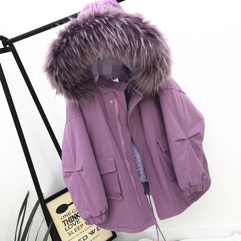 Щука подбитый женщина 2019 новый зимний осенний корейский ягнята утолщённый с дополнительным слоем пуха свободный дикий механическая обработка хлопок пальто 581180862229