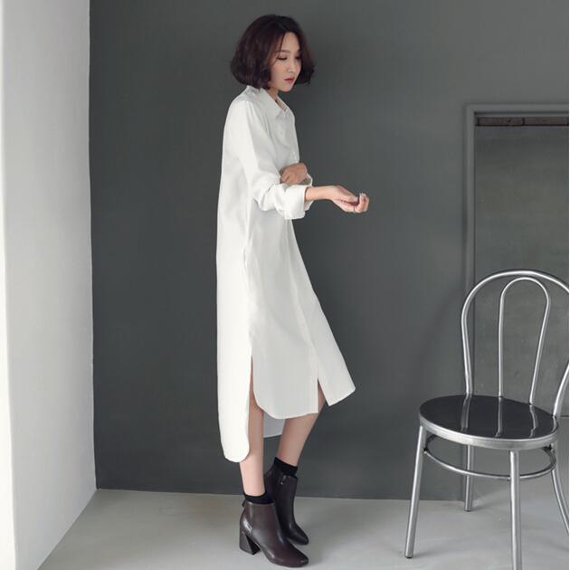 韩版加长版衬衣女秋2019新款超长过膝中长款宽松洋气大款衬衫裙寸