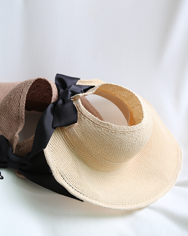 Korean empty top foldable bowknot straw hat NHALD335982