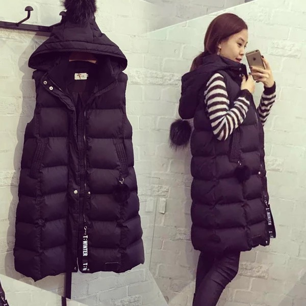 Vest female spring and autumn and winter long section ladies coat cotton vest shoulder 2017 new loose version large size women's slim