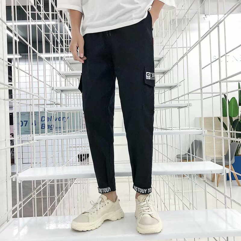MrJun夏季男韩版男士宽松直筒修身小脚百搭潮牌潮流v男士工装裤