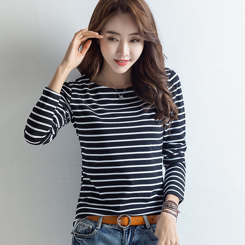 细横打底女T恤2020春季新款纯棉上衣韩版修身内搭长袖衫条纹潮