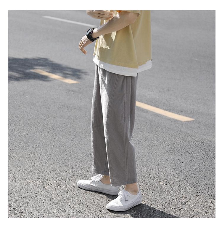夏季裤子男薄款韩版宽松潮流小直脚九分休闲裤薄潮A399TP30 控58