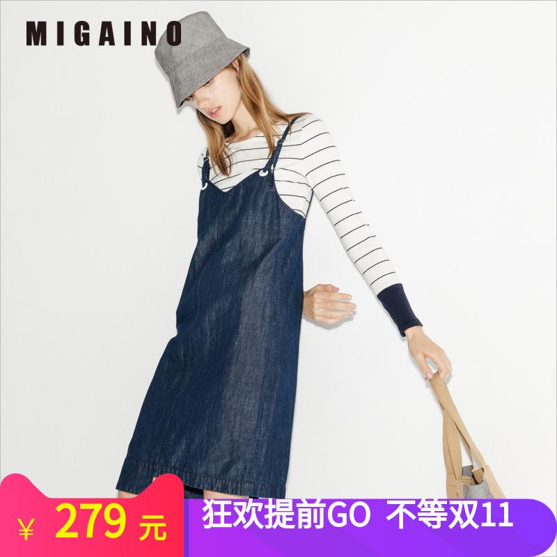 曼娅奴专柜正品18年春新款  时尚牛仔吊带两件套连衣裙MI12DD001