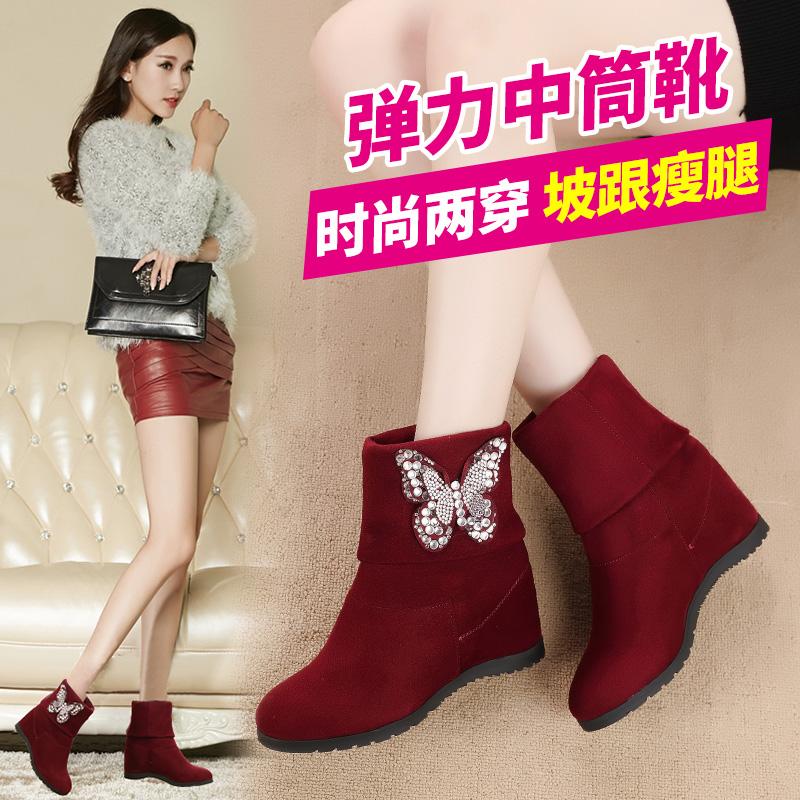 达芙妮冬季新款女鞋短靴真皮加绒保暖女靴内增高平底中筒雪地靴子