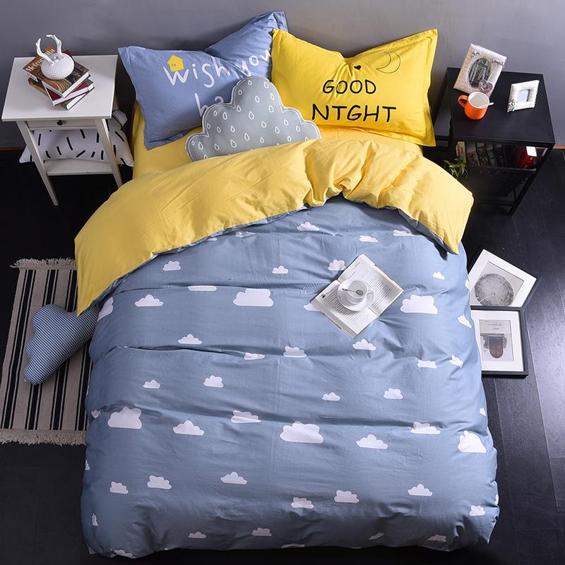 简约床上四件套纯棉1.8/2.0米双人被套四件套1.5m全棉学生三件套