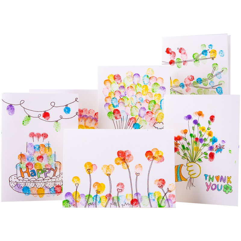 Children S Creative Christmas Cards Handmade Diy Material Package Finger Painting Homemade Birthday Card New Year Spring Festival