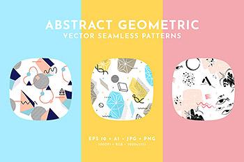背景纹理 | 抽象马赛克几何孟菲斯时尚概念矢量形状无缝模式