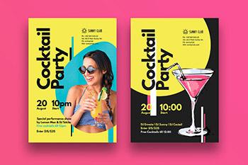 时尚高端视觉冲击力极强的鸡尾酒派对party海报宣传单DM设计模板