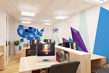 小型办公室办公场景3D立体效果图VI样机展示模型mockups