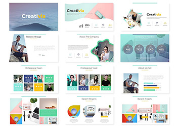 极简主义多功能的PPT模板下载 Creativia - Powerpoint Template [pptx]